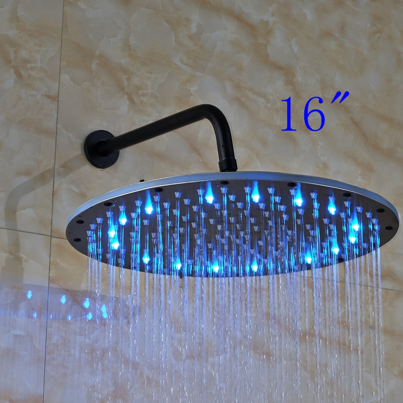 Large 16 LED Rain Round Oil Rubbed Bronze Shower Head Wall Mounted Over-head Sprayer luxury led color changing golden brass rain round shower head wall mounted over head sprayer