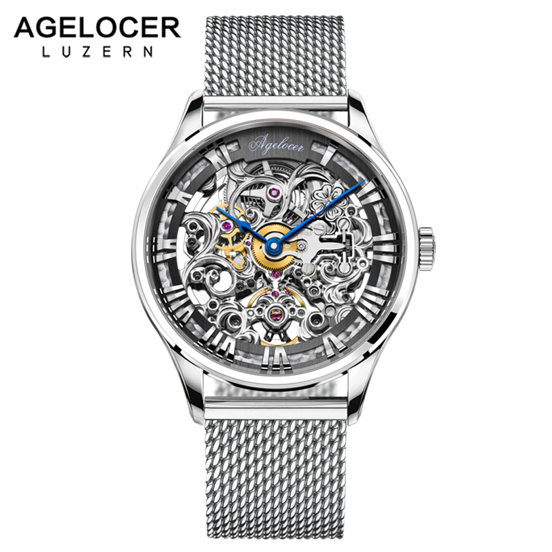 Swiss Luxury AGELOCER Automatic Skeleton Mens Watches Top Brand Fashion 316L Steel Relojes Hombre Clock Mechanical Watches mens недорго, оригинальная цена