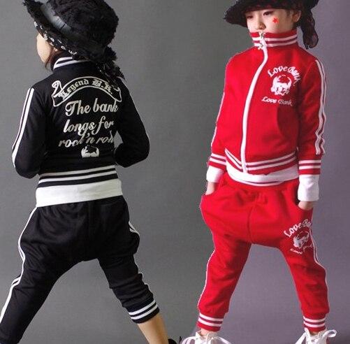 New fashion spring Autumn children's clothing set Costumes sweatshirt skull dance Hip Hop harem pants kids sport suits Wholesale