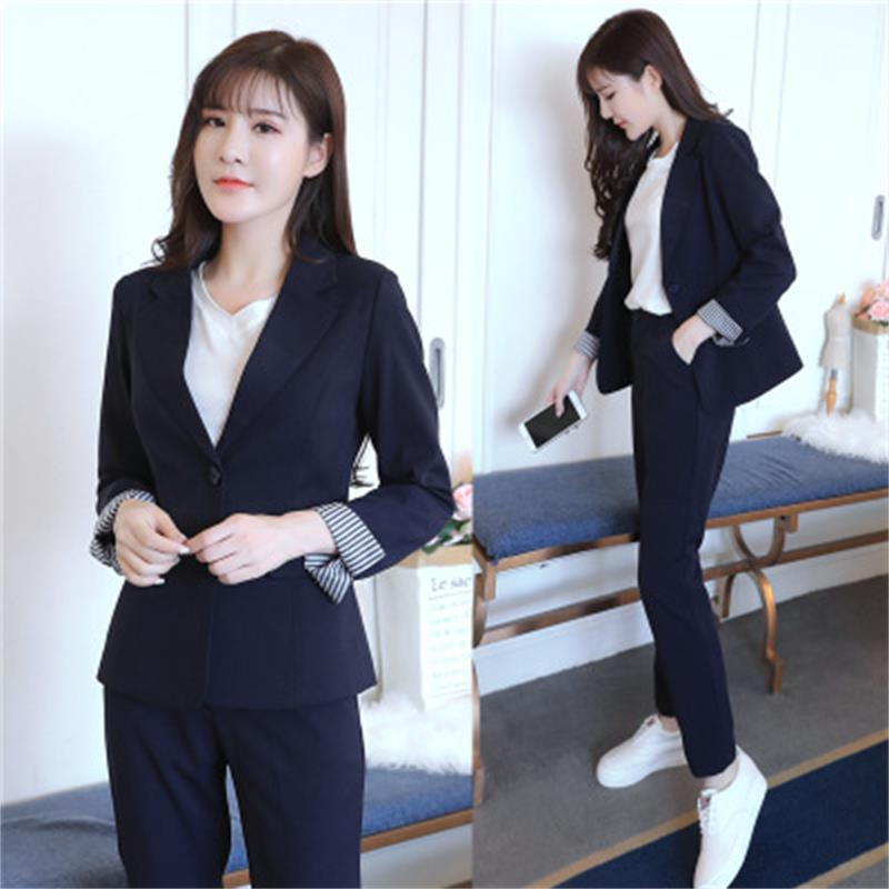 2 pieces of dark blue shorts suit official lady office OL uniform design lady elegant business overalls jacket with pants suit xiaomi mi 8 aliexpress