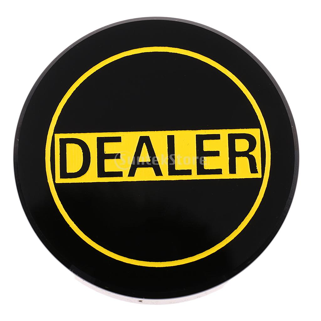 Professional Acrylic Black Table Game Dealer Button Poker Zhuang Button for Casino Party Tournaments Blackjack Game ...
