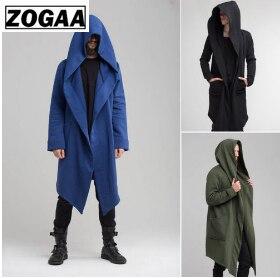Men Trench Coat Mens Jacket Spring Autumn Cardigan Punk  korean Long outwear