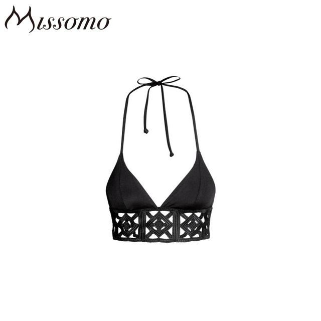 Missomo 2017 New Sexy Women Brelettes Black Solid Halter Sexy Hollow Out Back Closured Underwear Soft Wire Free Women Bra