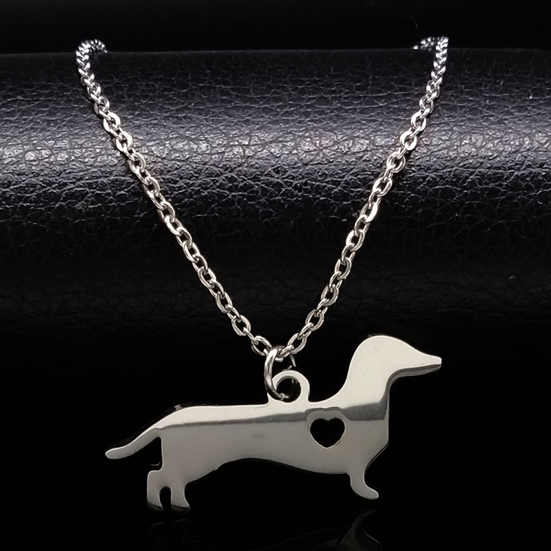 Stainless Steel Dachshund Dog Necklace For Women Jewelry Delicate Animal Pet Sausage Dog Puppy Pendant Necklace Gift N72211B