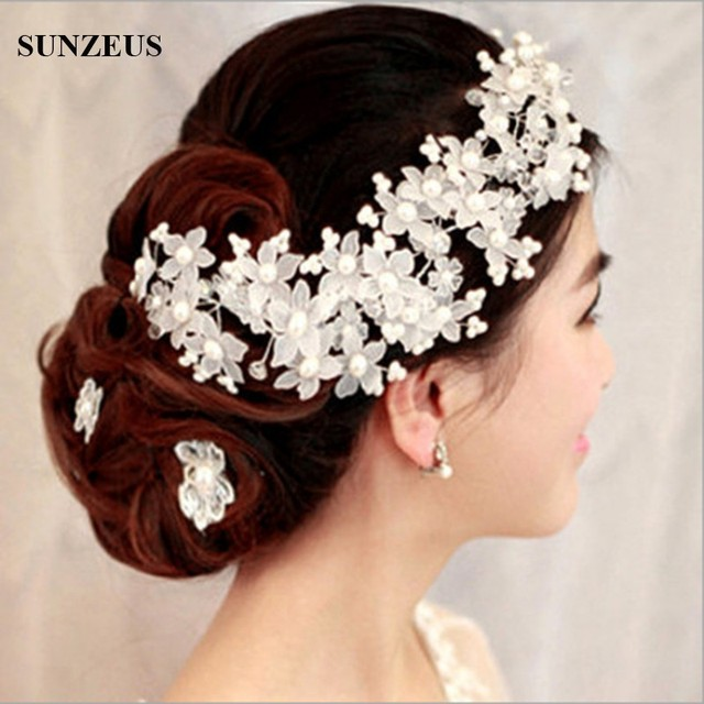 Red/White Wedding Accessories Handmade Bridal Hats with Pearl Flower High Quality Bride Pearl Bridal Hair Accessories  S796