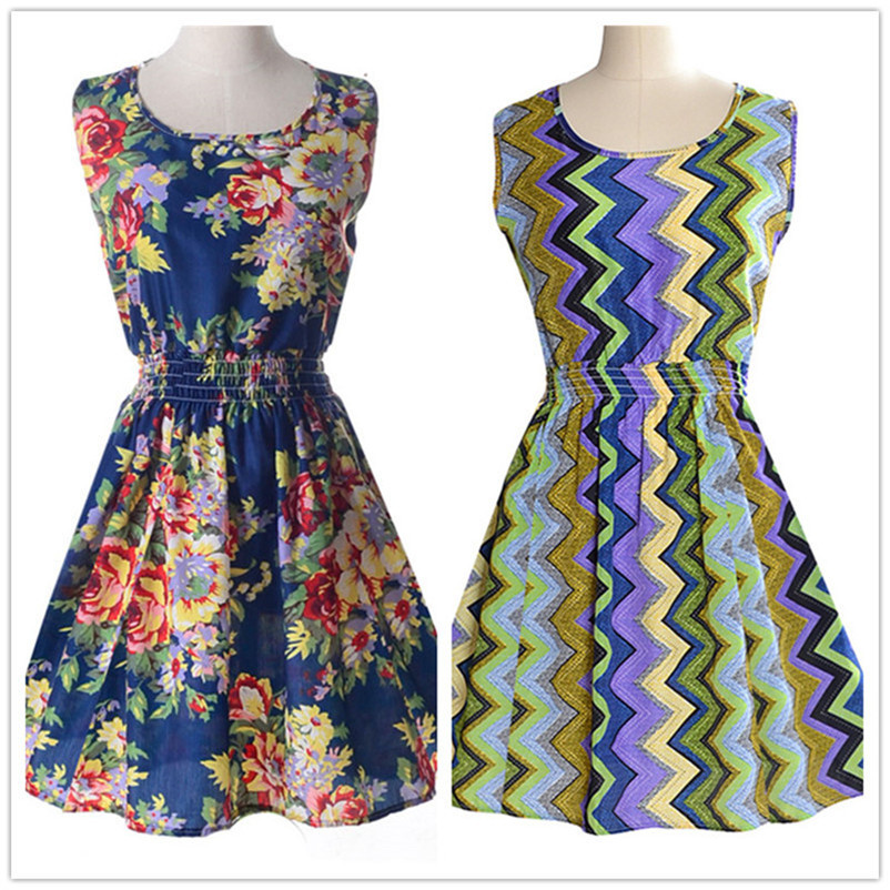 Woman Beach Dress Summer Boho Print Clothes Sleeveless Party Dress Casual Short Sundress Floral Dress Peacock Feathers Dresses (7)