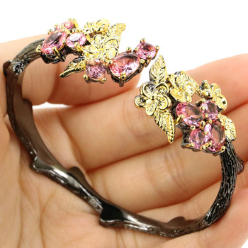 52x25 мм Винтажный стиль 29 г создан розовый морганит дымчатый топаз черный золотой серебряный браслет на запястье 7,5 дюйма