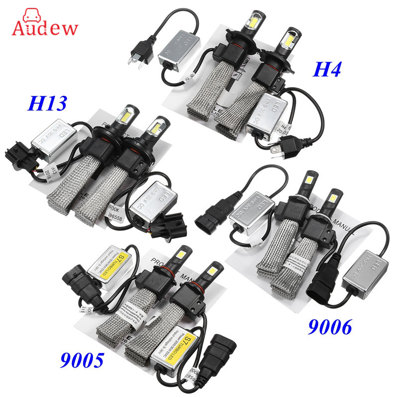 2Pcs Car LED Headlight 12V 24V 72W 6000K Light COB High/Low Beam Bulbs Automobile Headlamp H4 H13 9005 9006 9006 11w 600lm white led car foglight headlamp w 1 cree xp e 4 cob dc 12 24v