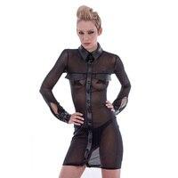 HU GH 2017 Fashion Women S Shirt Turn Down Collar Breathable Transparent Mesh Design Black Blouse