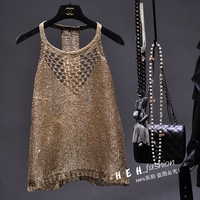 Cakucool Summer Gold Lurex Tank top Women Halter Backless Sexy Knit Camisole khaki Hollow out Shiny Sequin Tanks Spaghetti Femme