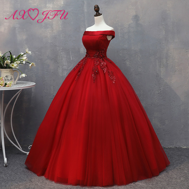AXJFU prinses rood kant bloem avondjurk stadium luxe vintage kralen bruid parels bloem boothals avondjurk