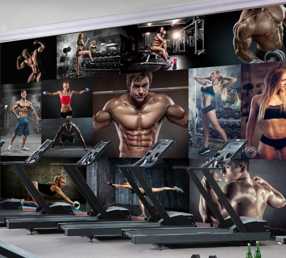 Free Shipping Custom Wallpaper Mural Modern Minimalist Hd Bodybuilding Boxing Fitness Poster Bar Background Wall Painting Deco Wallpapers Aliexpress