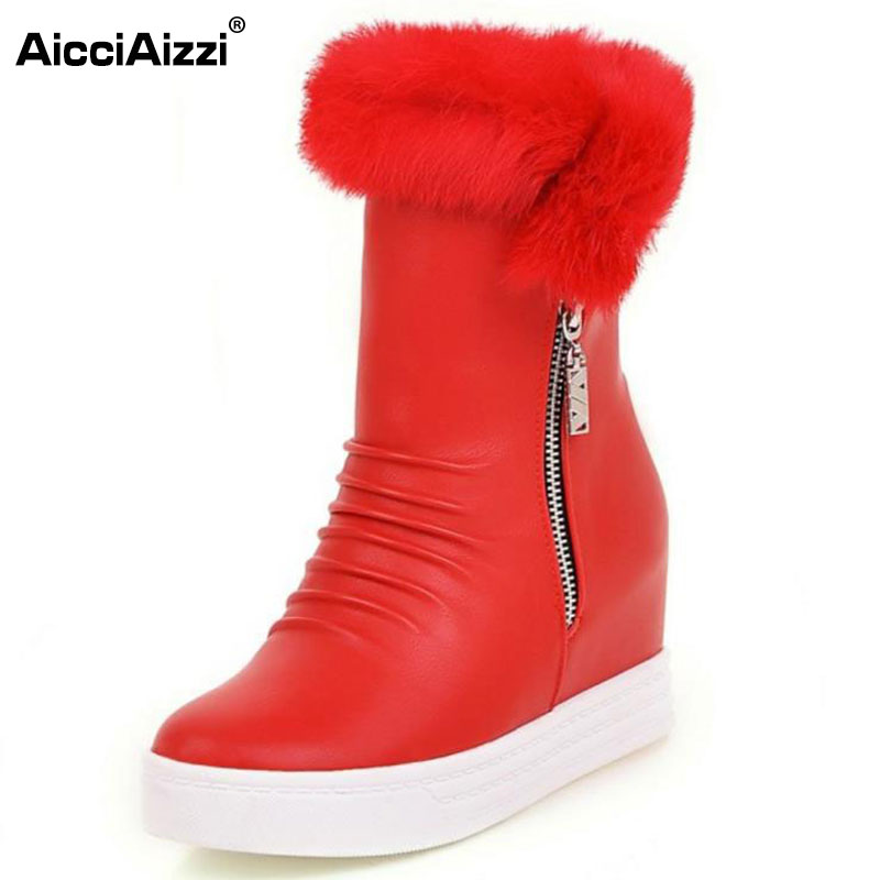 AicciAizzi 4 Colors Size 33-43 Women High Wedges Boots Zipper Half Short Boots Women Warm Winter Shoes Snow Botas Women Footwear