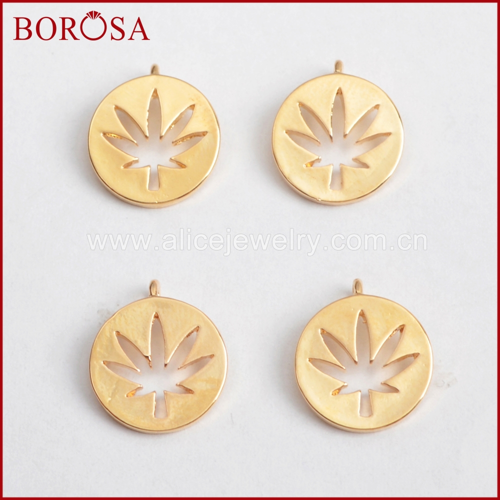 BOROSA 100PCS Gold Color Brass Leaf Carved Coin Charm Metal Jewelry Findings Wholesale for Women Druzy Gems Jewelry DIY PJ106