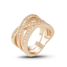 Rings for women New Fashion Rose gold color/ White Gold color Corss X Design Wedding With Austria Crystals Round J00780
