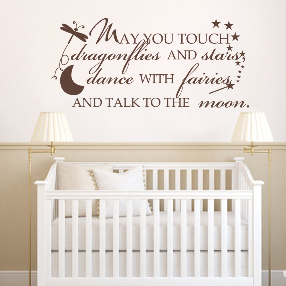 May you touch dragonflies & stars, dance with fairies and talk to the moon... Vinyl Wall Art Decal 25.4cm x 56cm