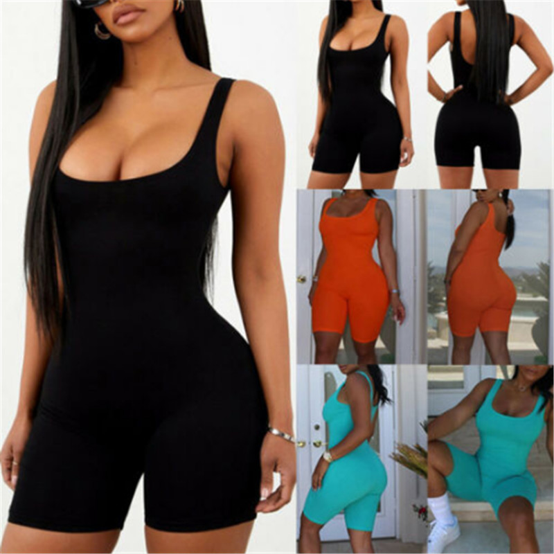 Newest Women Rompers Sleeveless Solid Black Orange Blue Halter Jumpsuit Lady Bodycon Playsuit Slim Short Pants Female Bodysuit