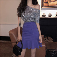 Women Fashion Vestidos 2018 Sexy Slash Neck Sequined T Shirts High Waisted Mermaid Skirt Sets Summer 2 PC Blingbling Club Suits