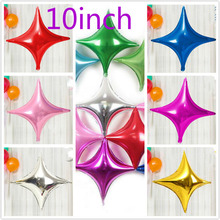 Fashion design 10pcs/lot 4-point star balloon 10inch star foil ballon for baby birthday party decoration inflatable air globos inflatable lighting star for party decoration