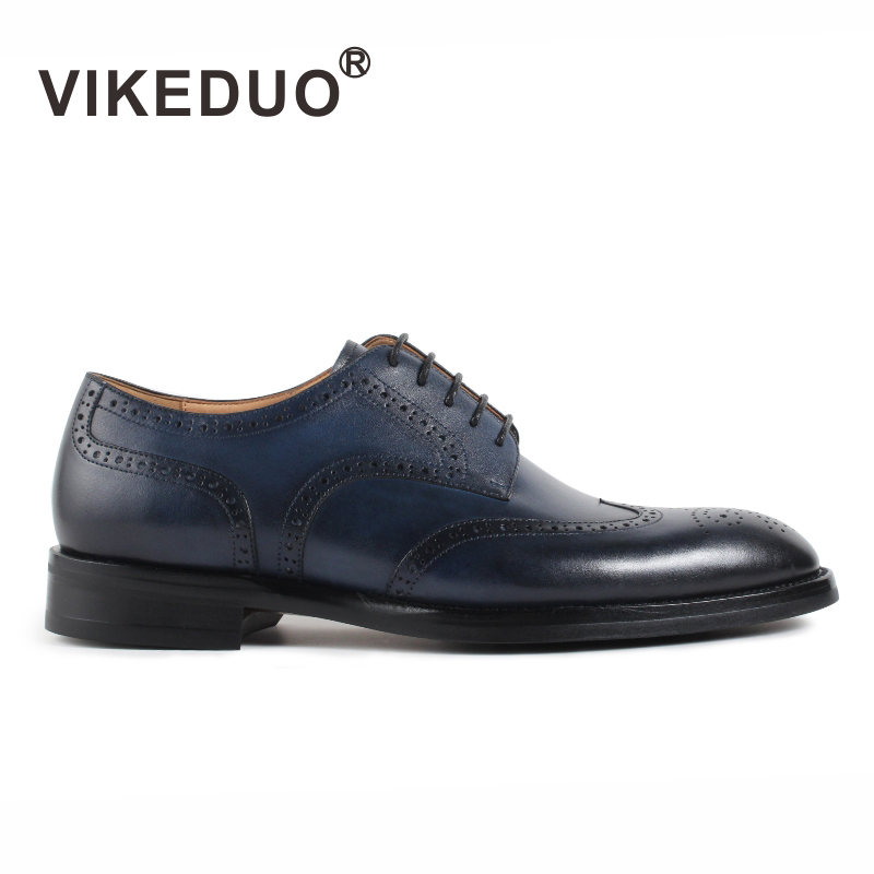 2018 Vikeduo Hot Mens Derby Shoes Handmade Pattern Design Fashion Luxury Leather Classic Full Brogue Business Wedding Dress Man ...