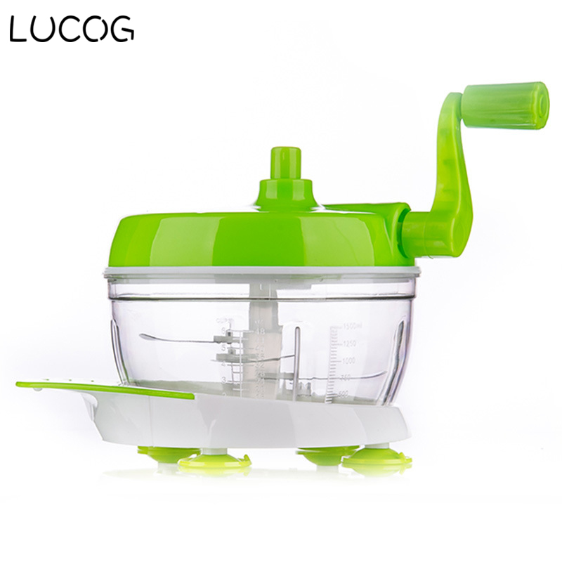 LUCOG Manual Food Processor Hand-Powered Miracle Chopper Baby Multi Vegetable Chopper Meat Grinder Fast Salsa Maker Food Mixer hand pull design manual meat grinder garlic grinder food chopper