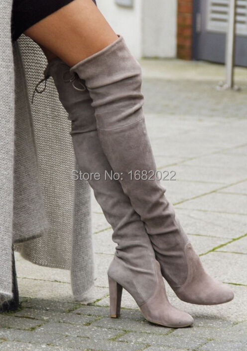 cheap sale women grey suede over the knee boots thick heels thigh ...