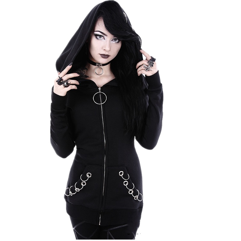 2019 Long Gothic Punk Women Hoodies Iron Ring Black Loose Hood Long Sleeve Casual Sweatshirt Plus Size Oversize Tracksuit Hoody