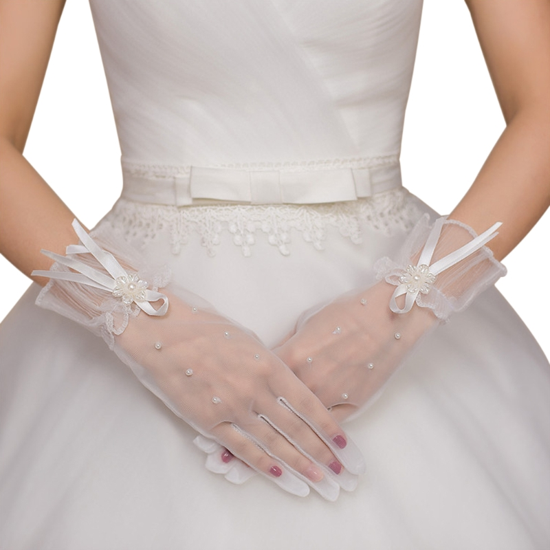 Bridal Lace Pearl Gloves Wrist Length Gloves Finger Short Wedding Accessories