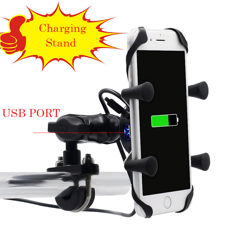 Chargeable Motorbike Telephone Holder 2 In 1 Telephone Bracket Usb 360 Bike Common Rotating Mount Cell Rearview Telephone Stand