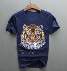 Image 3 - Роскошный дизайн бриллиантов, 100% хлопок, мужские футболки, дизайнерская мужская футболка