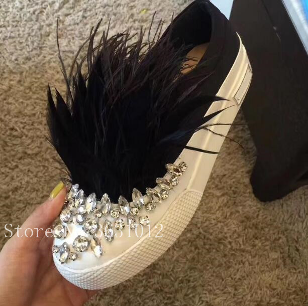 2018 Fashion Satin Silk Furry Feather Women Casual Shoes Rhinestone Slip On Flats Loafers Crystal Fur Party Shoes Woman цена 2017