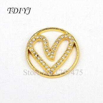 TDIYJ, 10 uds, lo más nuevo, placas de ventana de corazón de aleación de oro de 22mm, abalorios flotantes para medallón de memoria de cristal, regalos para el día de la madre