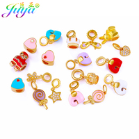 Wholesale DIY Beads Findings Supplies Enamel Metal Beaded Beads Heart Princess Crown Lollipop Charm Big Hole
