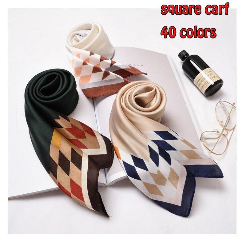 70X70CM Square Silk Scarf Showls For Women Top Quality Foulard Girl Hair Neck Imitation Silk Scarfs Ladies Scarves Kerchief