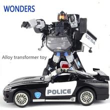 Legering av hög kvalitet Robocar Robot Transformation Bil Leksaker Alloy Deformation Robot Buss Leksaker För Barn Barn Jul Leksak