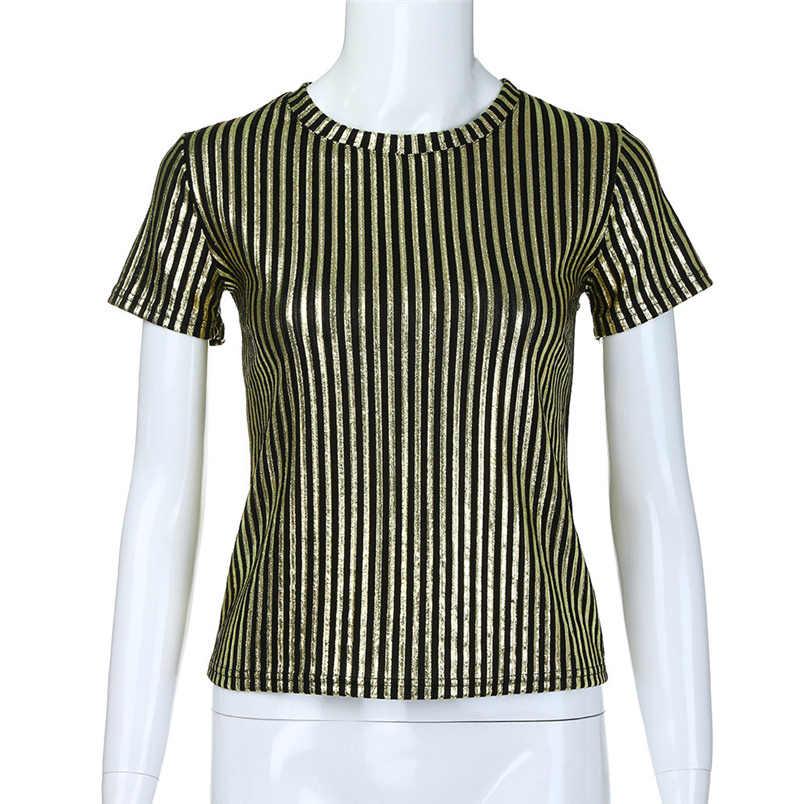 541fe8c5db3 ... Fashion Womens Summer Short Sleeve O-Neck Sequins Stripe Causal Top  Tunic Blouse Shirt Free ...