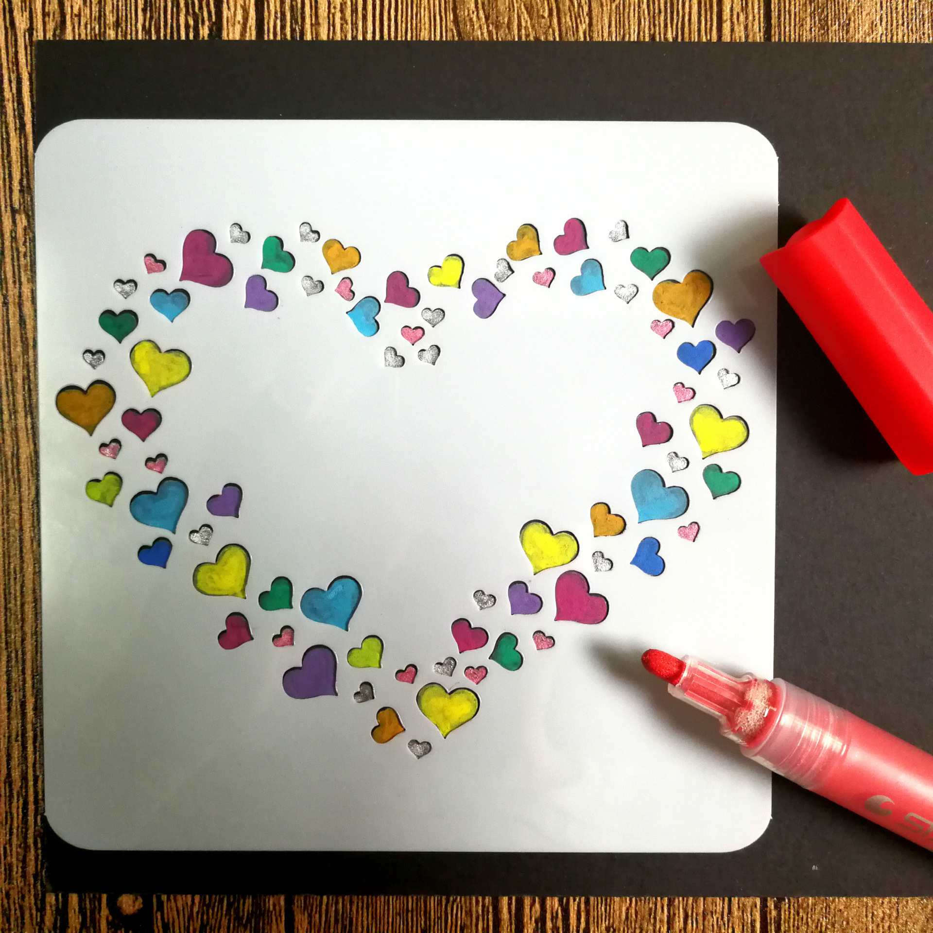 1pc Novelty Heart PP DIY Drawing Template Ruler Promotional Gift Stationery School Supplies Xmas Gift Multi Ruler