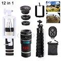 12in1 Phone lenses Kit 12X Telephoto Zoom Lentes Telescope+Tripod+Monopod+Wide Angle Macro Fisheye Lens For iPhone Samsung Sony