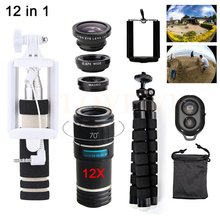 Promo offer 12in1 Phone lenses Kit 12X Telephoto Zoom Lentes Telescope+Tripod+Monopod+Wide Angle Macro Fisheye Lens For Samsung S5 S6 S7 S8