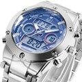 2015 nova moda elegante relógio de aço à prova d' água esporte ASJ exército relógio de LED digital de pulso de quartzo dos homens militares ao ar livre de natação 105