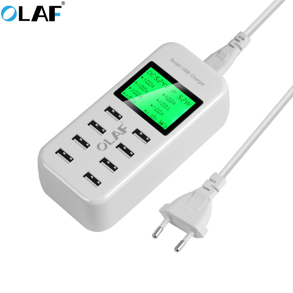 OLAF 8 Port Smart USB Charger Hub with LCD 40W Multi-Port USB Charging Station USB Wall Tr