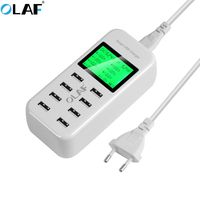 OLAF 8 Port Smart USB Charger Hub with LCD 40W Multi Port USB Charging Station USB Wall Travel Charger for Smartphone Tablets