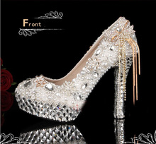 Luxurious Rhinestone Women's Wedding Shoes Pumps High heel Bridal Shoes Beautiful Lady Dress Shoes Formal Shoes