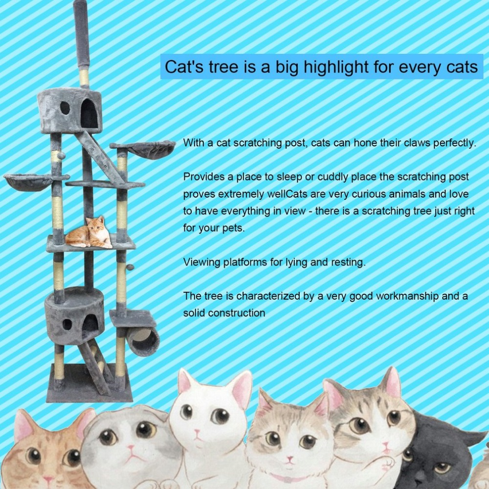 Più nuovo Gatto Regolabile in Altezza Albero Torre di Attività Centri di Animali Domestici Tiragraffi Arrampicata Salto Giocattolo Mobili di Protezione