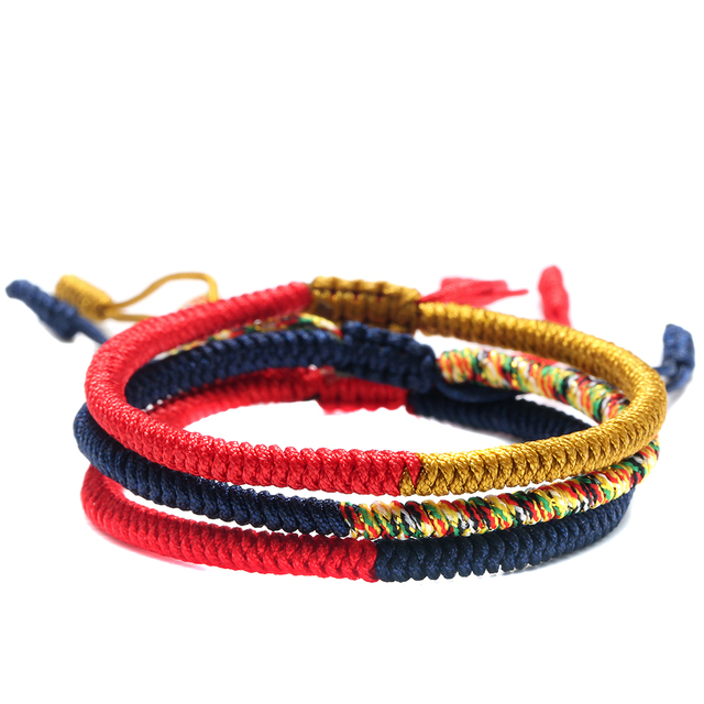 148239ad1532e Handmade Jewelry Multi Color Tibetan Buddhist Lama Braided Knots Lucky Rope  Bracelet For Man Women Size
