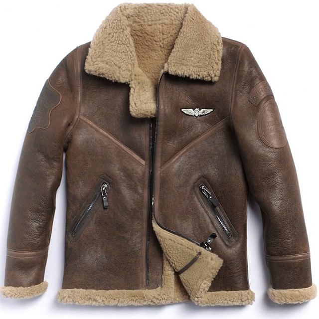 ecff8746d7f1 HARLEY DAMSON Brown Men Italy Pilot Shearling Jacket Plus Size 3XL Slim  Russian Winter Thick Genuine Aviator Shearling Coat