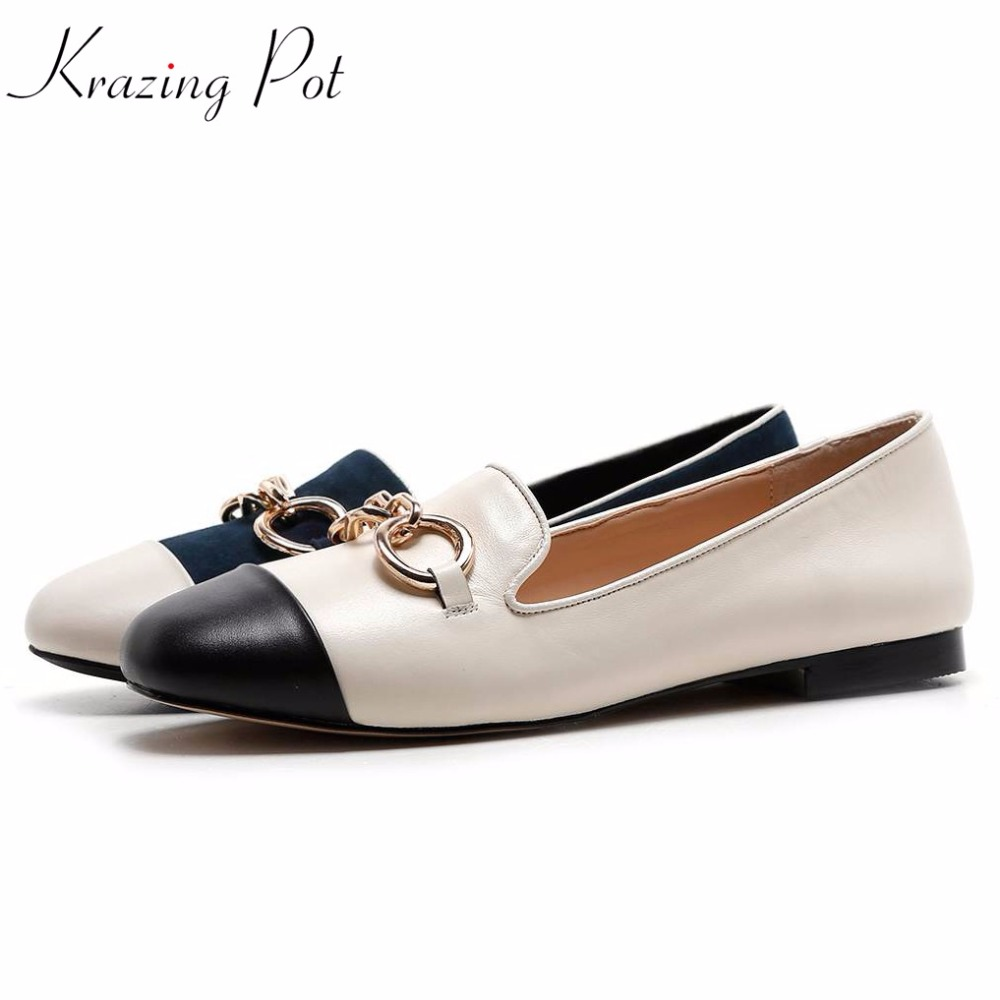2019 new sheep   suede   superstar metal chains preppy style casual round toe flats wholesale sweet women pregnant   leather   shoes L56