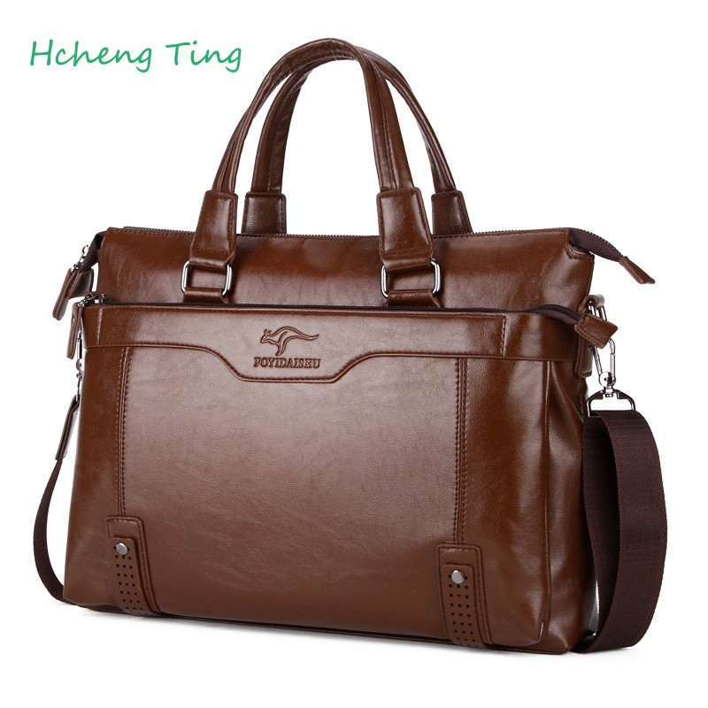 Men Kangaroo Leather Handbag Briefcase 14 inch Laptop Bag Luxury Brand Men Messenger Shoulder Bag Leather