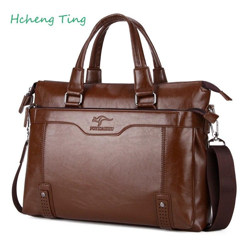Men Kangaroo Leather Handbag Briefcase 14 inch Laptop Bag Luxury Brand Men Messenger Shoulder Bag Leather Travel Male Portfolio