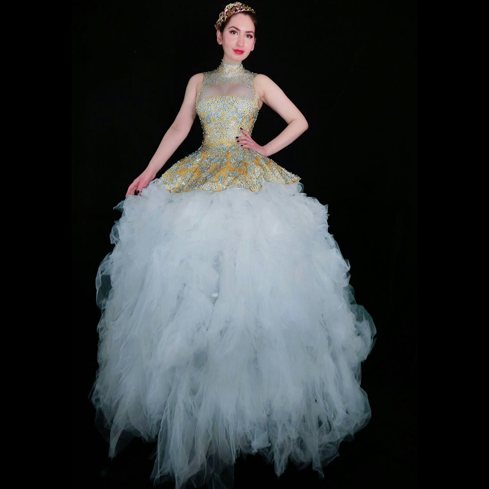 Strass brillant robe de bal queue robe grande Voile blanc femmes anniversaire bal soirée robes femme chanteuse scène Costume
